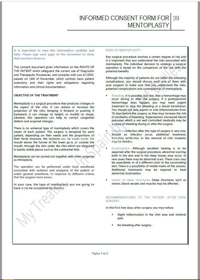 Informed consent form for Mentoplasty